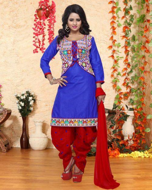 Blue Cotton Punjabi Suit 78089