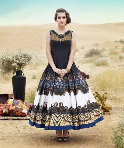 Black Bhagalpuri Readymade Party Wear Gown 77729