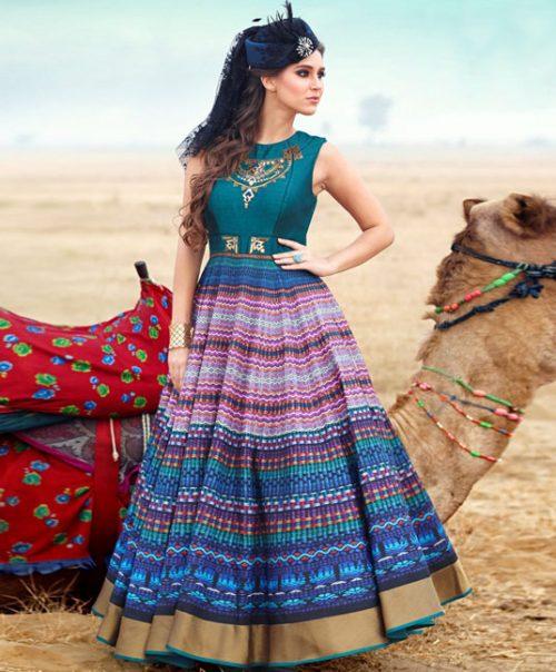 Teal Bhagalpuri Readymade Party Wear Gown 77730