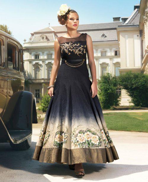 Black Bhagalpuri Readymade Desiger Gown 77593