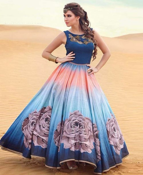 Blue Silk Readymade Party Wear Gown 77595