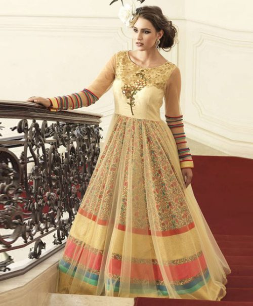 Beige Bhagalpuri Readymade Designer Gown 77596