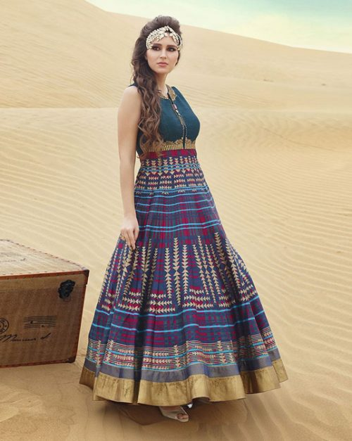 Blue Bhagalpuri Readymade Party Wear Gown 77732