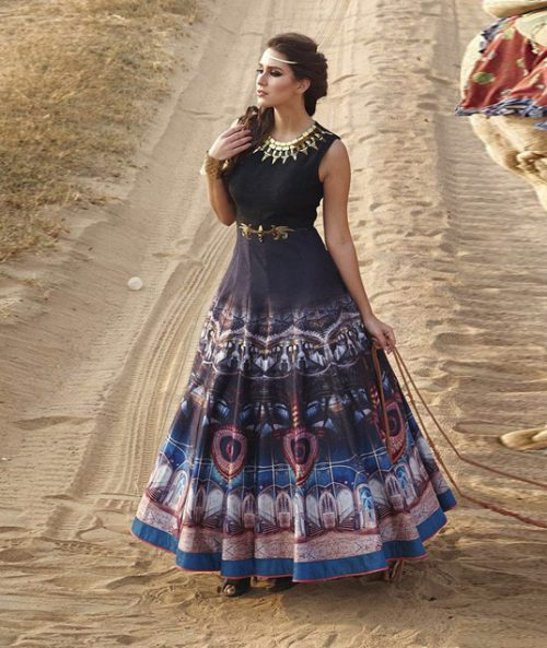 Black Bhagalpuri Readymade Party Wear Gown 77734