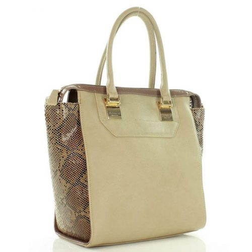 Beige Elegant Snake Skin Imitation Hand/Shoulder Bag