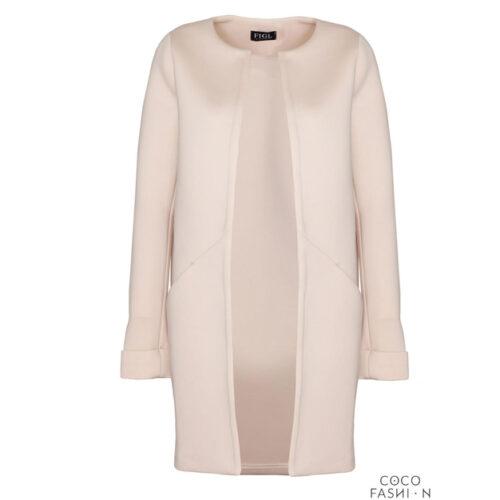 Elegant Round Neck Short Coat – Beige, XL