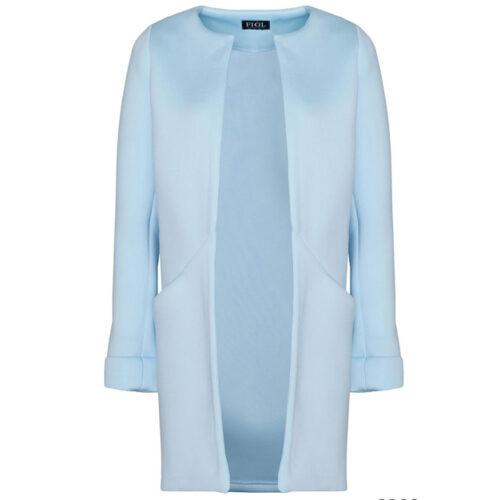 Elegant Round Neck Short Coat – Blue, XL