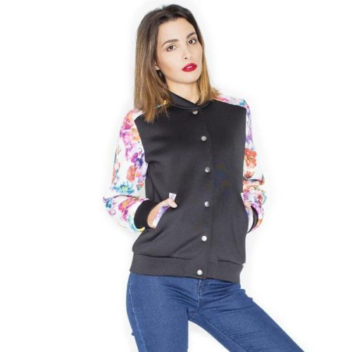 Short Bomber Jacket with Floral Sleeves