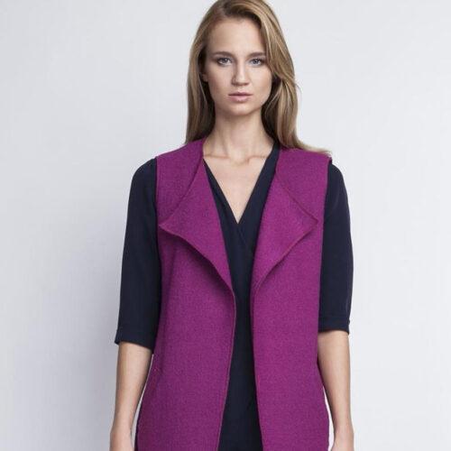 Sleeveless Vest Jacket with Belt