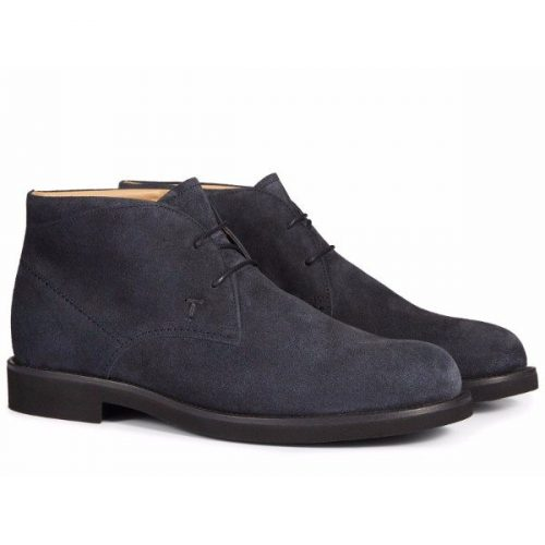 Tod's men's ankle boots in blue Suede leather – Mod. XXM0WP00D80RE0U805