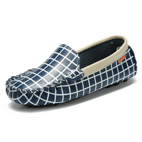 Children Plaid Leather Boat Shoes Slip on Kids Loafers Flat Casual Shoes