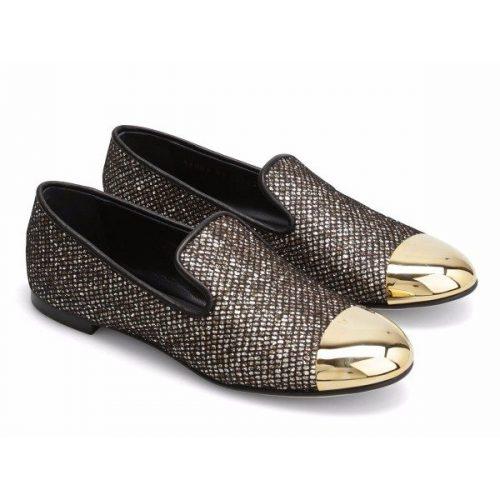 Giuseppe Zanotti flat slippers in glitter gold metal toe – Mod. I56006 DALILA
