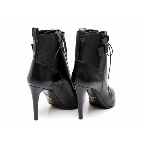 Sergio Rossi heeled booties in black Leather and Fabric – Mod. A70520 MAF656 1000