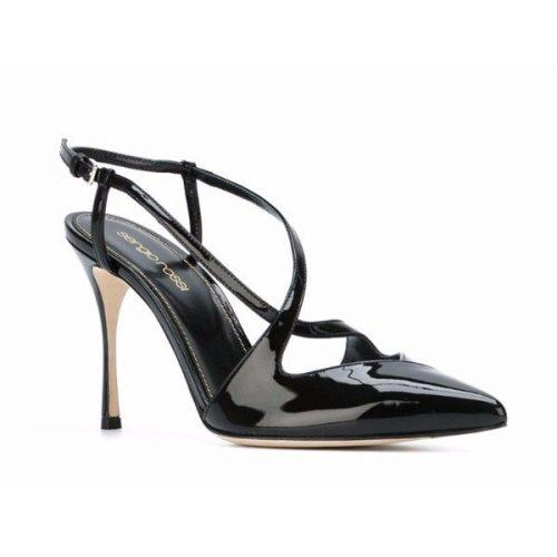 Sergio Rossi heels slingbacks in black Patent Leather Mod. A69800 MVIV01 1000