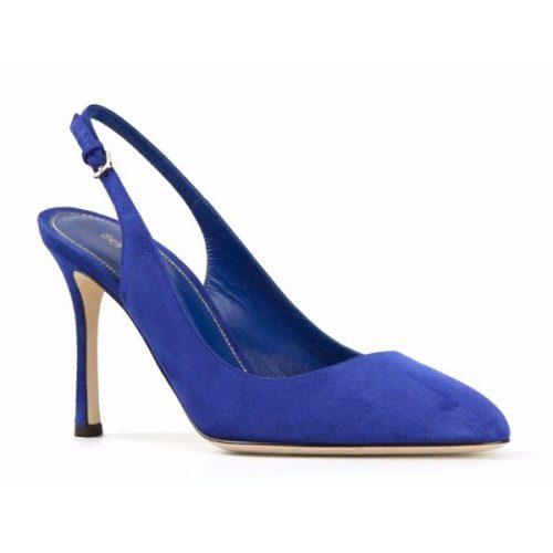 Sergio Rossi heels slingbacks in blue suede leather Mod. A68551 MCAZ01 4578 110
