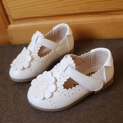 Flower Decoration Pure Color Hollow Out Hook Loop Flat Girls Shoes