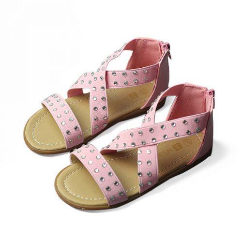 Girls Leopard Kids Cross Elastic Band Rhinestone Sandals