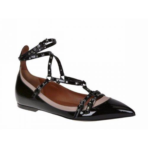Valentino flats strappy pumps in black Patent Leather – Mod. JW0S0959 VNV
