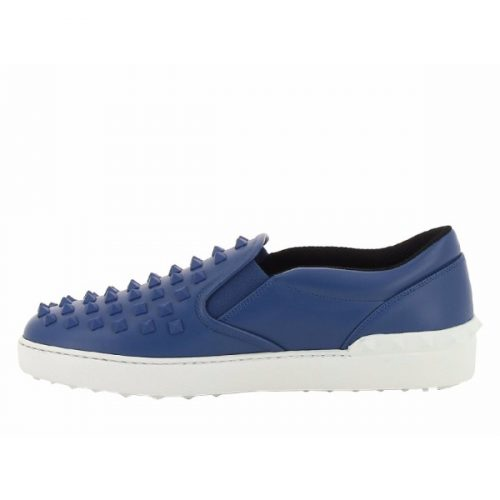 Valentino men's slip-ons sneakers in azure leather – Mod. KY0S0817VDR D51