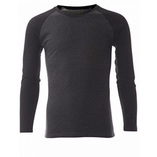 Men's Casual Long Sleeve Cotton Crewneck Baseball T-Shirt (TR100) – Black Charcoal