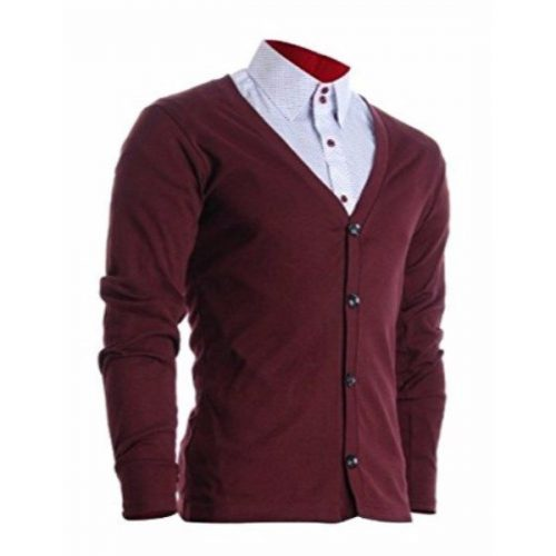 FLATSEVEN Mens Slim Fit Stylish Button up Cardigan (C100)