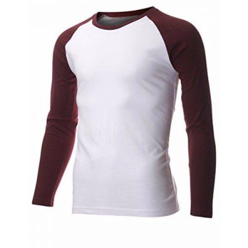 Men's Casual Long Sleeve Cotton Crewneck Baseball T-Shirt (TR100) – Wine