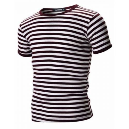 FLATSEVEN Mens Casual Wide Striped Crew Neck Short Sleeve Tee Shirt (TR1002)