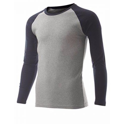 Men's Casual Long Sleeve Cotton Crewneck Baseball T-Shirt (TR100)