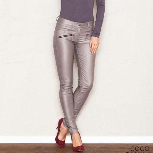 Faux Leather Stretch Skinny Pants with Slant Zipper Pockets