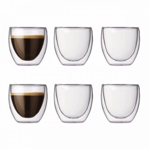 Bodum PAVINA Glass Set (Double-Walled Isolated 0.08 L/3 oz) – Pack of 6 Transparent