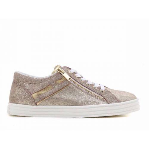 Hogan Rebel women's low top sneakers in gold leather