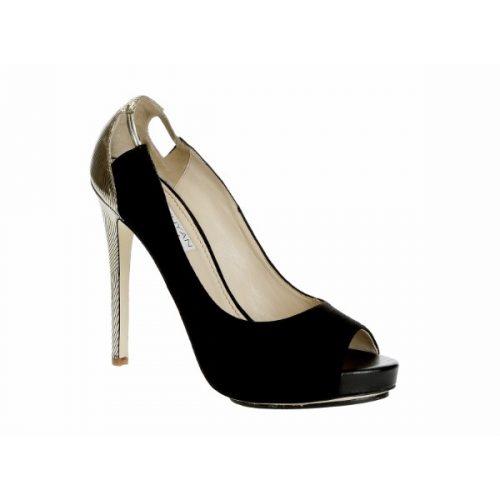 Burakuyan peep toes in black suede leather – Mod. BU34.2