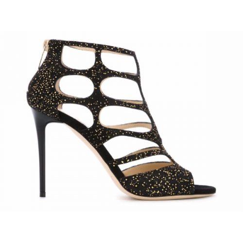 Jimmy Choo high heel sandals in black Suede leather – Mod. REN100UOP164