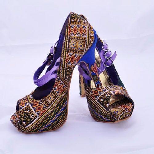Brown Ankara Print Covered Pump Shoe – African Arts