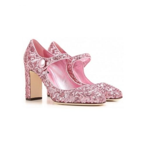 Dolce&Gabbana heels Mary Janes in pink Glitter