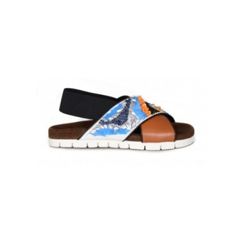 MSGM women's slippers in Multi-Color Leather Fabric – 2041MDS25 003