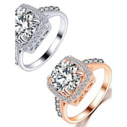 Couple Rings Crystal Crystal Alloy Love Fashion Silver Golden Jewelry Wedding Party Gift Daily Valentine 1pc