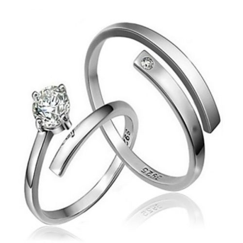 Hot sale 2pcs CZ Stone Sterling Silver Ring Couple Rings Wedding For Woman&Man Promis rings for couples