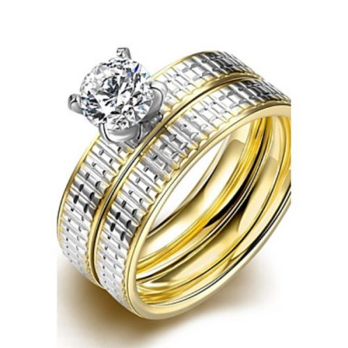 Iureme® Luxurious Golden and Silver Tone Line Carved Stainless Steel Big Zircon Womens Girls Ring 2Pcs