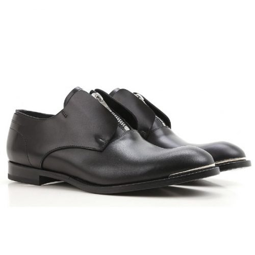 Alexander McQueen men's zip loafers in black calf leather