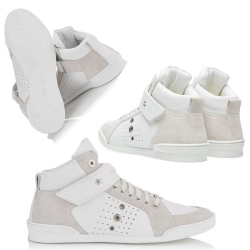 Jimmy Choo men's high sneakers in white calf leather