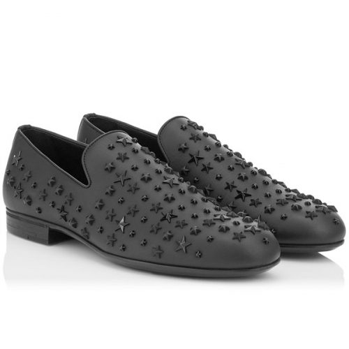 Jimmy Choo men's loafers in black Leather metal stars