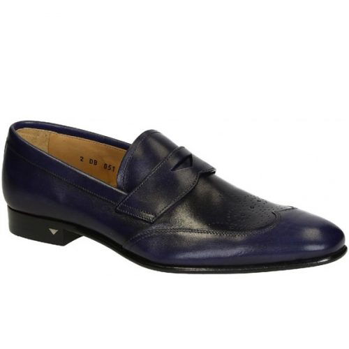 Prada men's loafers shoes in blue shiny calf leather