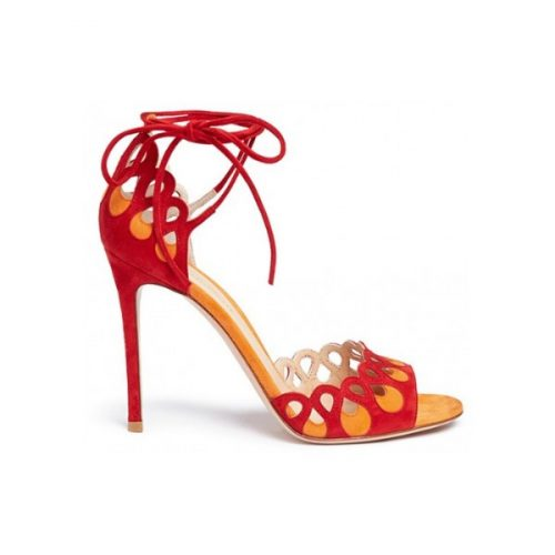 Gianvito Rossi Samba high heel sandals in red suede leather