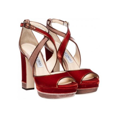 Jimmy Choo heeled sandals with platform in orange Velvet
