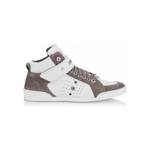 Jimmy Choo men's high sneakers in white/grey leather