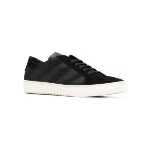 Off-White men's sneakers in black stipes Leather