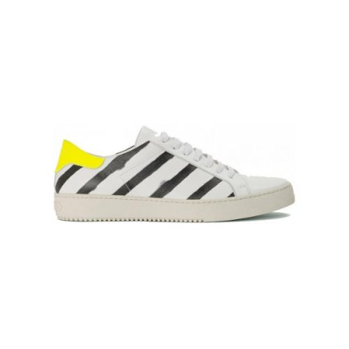 Off-White men's sneakers in white Leather with black stripes