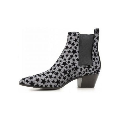 Saint Laurent ankle boots anthracite glitter