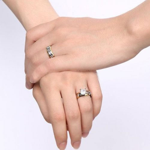 Engravable Two Tone Matching Wedding Rings Set for Couple
